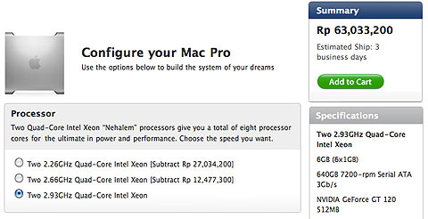 Kalo pesen 8 Core 2.93GHz ke Apple Store Indonesia