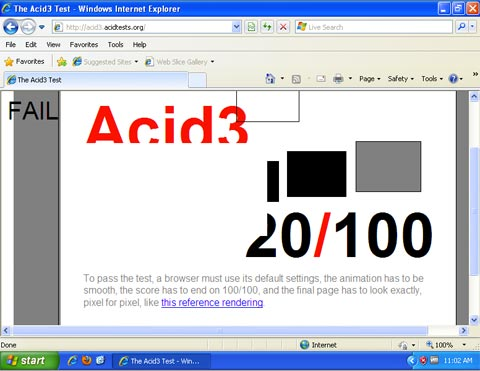 Microsoft IE8 jalanin ACID3 test